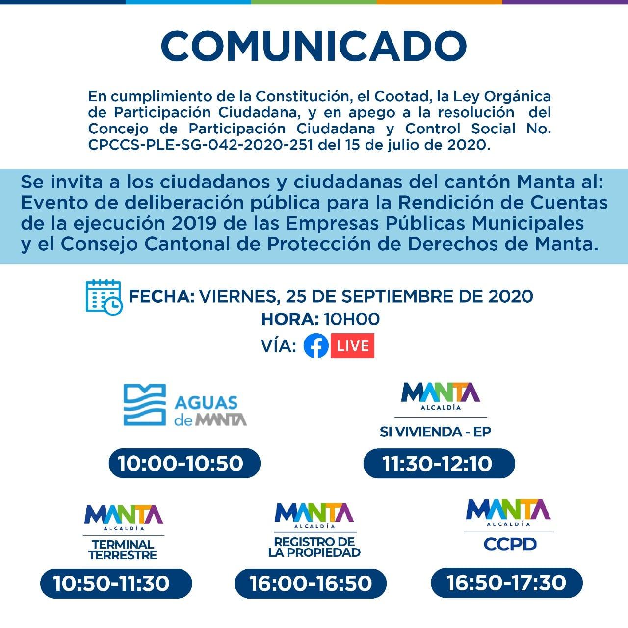 INVITACIÓN A LA RENDICIÓN DE CUENTAS 2019 DE LA EMPRESA MUNICIPAL DE VIVIENDA Y DESARROLLO URBANO SI VIVIENDA-EP.